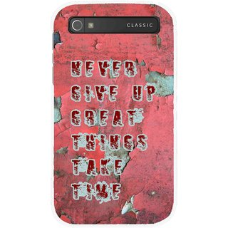 Snooky Printed Never Give Up Mobile Back Cover For Blackberry Classic - Red