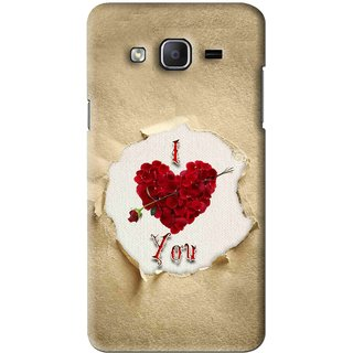 Snooky Printed Love Heart Mobile Back Cover For Samsung Galaxy On7 - Multi