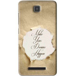 Snooky Printed Dreams Happen Mobile Back Cover For Lenovo A1900 - Brown