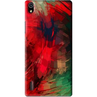 Snooky Printed Modern Art Mobile Back Cover For Huawei Ascend P7 - Red