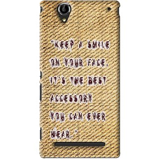 Snooky Printed Keep A Smile Mobile Back Cover For Sony Xperia T2 Ultra - Brown