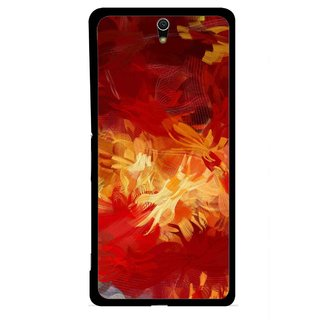Snooky Printed Flamy Fire Mobile Back Cover For Sony Xperia C5 - Red