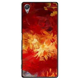 Snooky Printed Flamy Fire Mobile Back Cover For Sony Xperia X - Red
