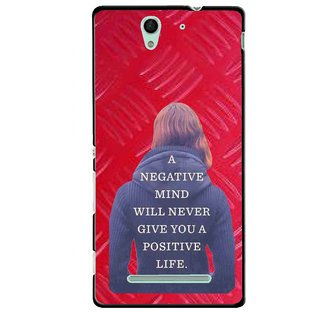 Snooky Printed Be Positive Mobile Back Cover For Sony Xperia C3 - Red