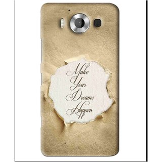 Snooky Printed Dreams Happen Mobile Back Cover For Microsoft Lumia 950 - Brown