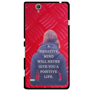 Snooky Printed Be Positive Mobile Back Cover For Sony Xperia C4 - Red