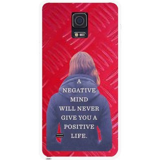 Snooky Printed Be Positive Mobile Back Cover For Samsung Galaxy Note 4 - Red