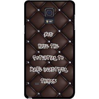 Snooky Printed Beautiful Things Mobile Back Cover For Samsung Galaxy Note 4 - Brown
