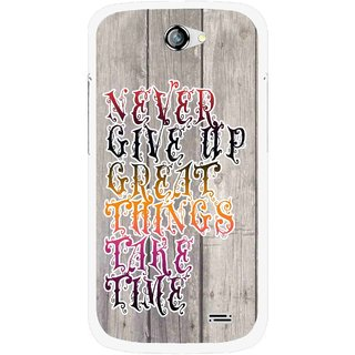 Snooky Printed Never Give Up Mobile Back Cover For Gionee Pioneer P2 - Multi