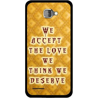 Snooky Printed Accept Love Mobile Back Cover For Micromax Canvas Mad A94 - Yellow