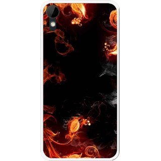 Snooky Printed Fire Lamp Mobile Back Cover For HTC Desire 825 - Orange
