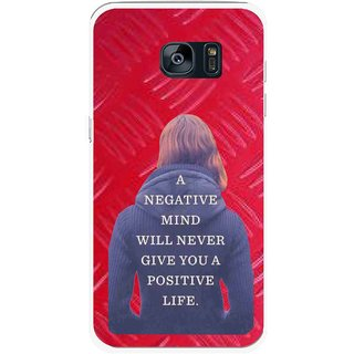 Snooky Printed Be Positive Mobile Back Cover For Samsung Galaxy S7 Edge - Red