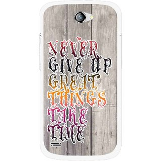 Snooky Printed Never Give Up Mobile Back Cover For Gionee Pioneer P3 - Multi