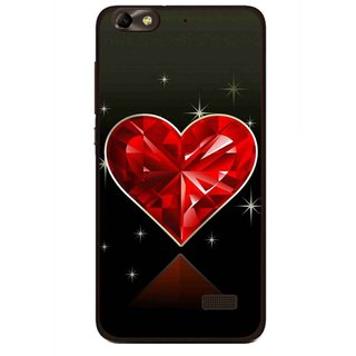 Snooky Printed Diamond Heart Mobile Back Cover For Huawei Honor 4C - Red