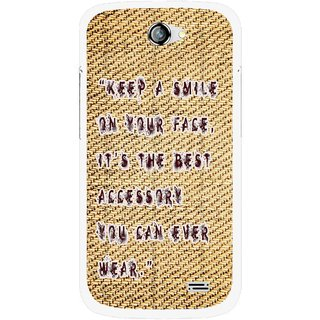 Snooky Printed Keep A Smile Mobile Back Cover For Gionee Pioneer P2 - Brown