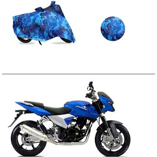 AutoStark Water Resistant Blue Bike Cover Bike Body Cover Military Design For Bajaj DTS-i