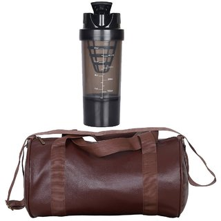 CP Bigbasket Combo Set Leather Soft Gym Bag (Brown) Cyclone Shaker (Black)