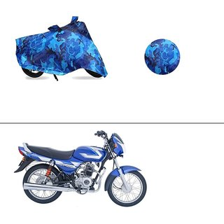 AutoStark Water Resistant Blue Bike Cover Bike Body Cover Military Design For Bajaj CT100