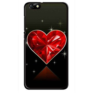 Snooky Printed Diamond Heart Mobile Back Cover For Huawei Honor 4X - Red
