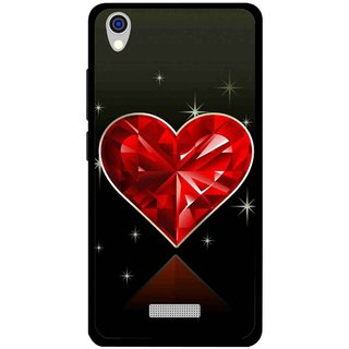Snooky Printed Diamond Heart Mobile Back Cover For Lava Iris X9 - Red