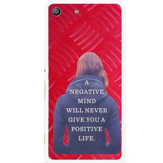 Snooky Printed Be Positive Mobile Back Cover For Sony Xperia M5 - Red