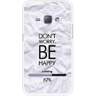 Snooky Printed Be Happy Mobile Back Cover For Samsung Galaxy J1 - Grey