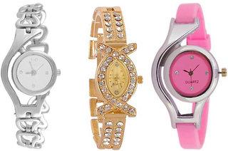 Varni Retail Stylish Silver Chain + Diamond AKS With Pink Glory Girls Wrist Watch Combo For Women