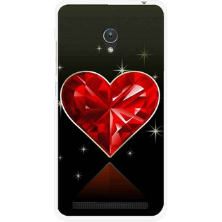 Snooky Printed Diamond Heart Mobile Back Cover For Asus Zenfone 5 - Red
