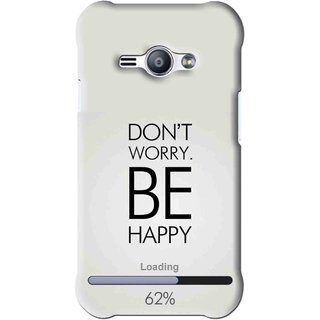 Snooky Printed Be Happy Mobile Back Cover For Samsung Galaxy Ace J1 - Grey