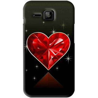 Snooky Printed Diamond Heart Mobile Back Cover For Micromax Bolt S301 - Red