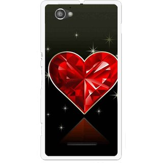 Snooky Printed Diamond Heart Mobile Back Cover For Sony Xperia M - Red