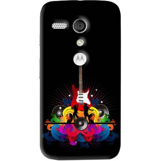 Snooky Printed Rainbow Music Mobile Back Cover For Moto G - Black