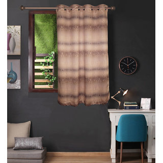 Lushomes Uber Premium 3D Printed Light Brown Based Abstract Window Curtains (Single Pc Size 54 x 60 inch 8 metal eyelets)