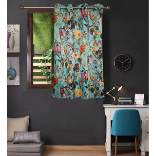 Lushomes Uber Premium 3D Printed Blue Based Flower Window Curtains (Single Pc Size 54 x 60 inch 8 metal eyelets)