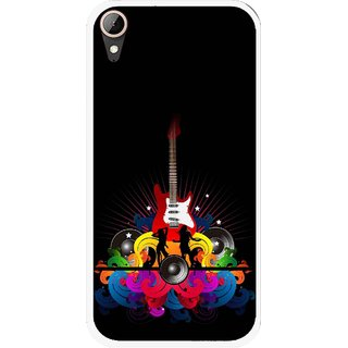 Snooky Printed Rainbow Music Mobile Back Cover For HTC Desire 830 - Black