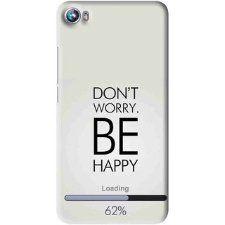 Snooky Printed Be Happy Mobile Back Cover For Micromax Canvas Fire 4 A107 - Grey