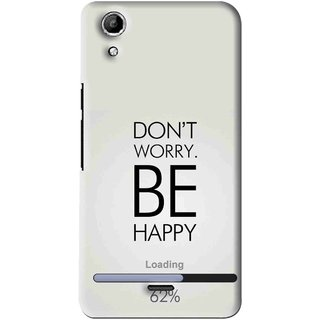 Snooky Printed Be Happy Mobile Back Cover For Micromax Canvas Selfie Lens Q345 - Grey