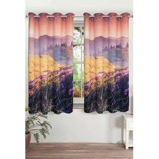 Lushomes Digitally Printed Landscape Polyster Blackout Curtains with 6 Metal Eyelets for Window Single pc. (Size: 48 x60 )