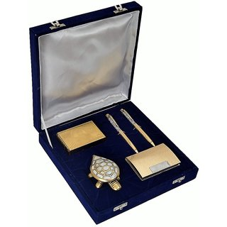 24K Gold Playing Card, 2 Gold Plated Pen, Fengshui Tortoise, Gold Plated Visiting Card Holder Gift Set
