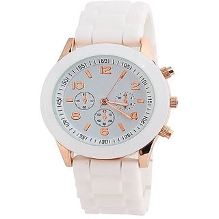 Varni Retail Pretty White Silicon Strap With Designer White Dial Men Wirst Watch For Boys