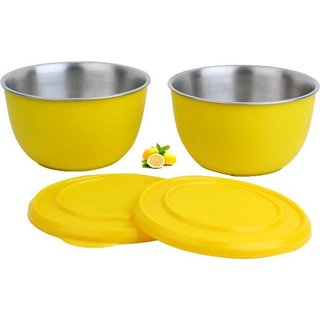 microwave bowl set of two yellow