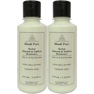 Khadi Pure Herbal Almond  Saffron Moisturizer with Sheabutter Paraben Free - 210ml (Set of 2)