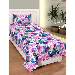 Trendz Home Furnishing Printed Cotton Single  Bedsheet With 1 Pillow Covers