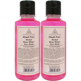 Khadi Pure Herbal Rose Water Face Wash - 210ml (Set of 2)