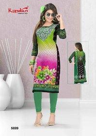 Women's multi color Cotton  printed Straight Kurti