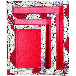 Set Of 3 Floral Printed Border Tray