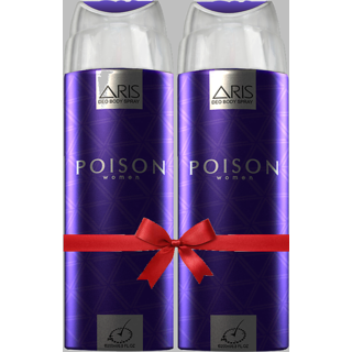 ARIS POISON DEODORANT BODY SPRAY FOR WOMEN 200 ML. (SET OF 2 DEODORANTS)