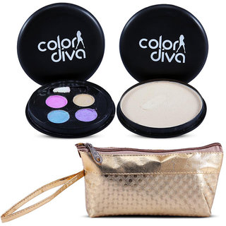 Color Diva 4in1  Eyeshadow,Compact With Golden Makeup Pouch Set of 3, C-538