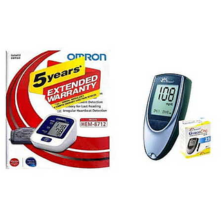Omron HEM-8712 Blood Pressure Monitor with Dr. Morepen BG-03 Gluco One Glucometer 25 Strips Healthcare Combo