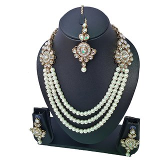 Aashi jewelry pearl kundan necklace set for women